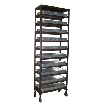 Iron Rolling Rack 68'' Bookcase with 10 Vintage Trays Product Picture 258