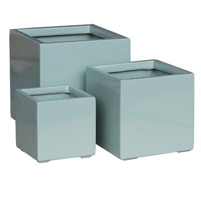 3 Piece Square Planter Box Set Color: Green