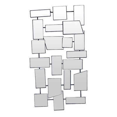 Metal And Glass Panes Wall Mirror