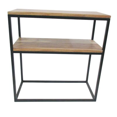 Wood and Iron Two Shelf End Table