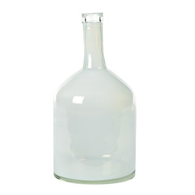 Wide Glass Decorative Bottle Color: White
