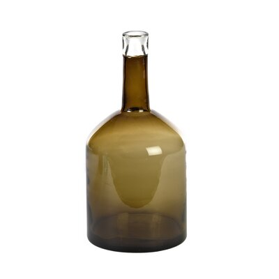 Wide Glass Decorative Bottle Color: Smoke
