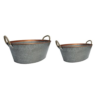 Oval 2-Piece Iron Pot Planter Set