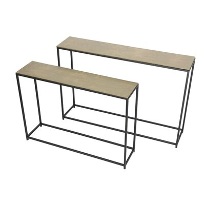 2 Piece Iron/Aluminum Console Table Set