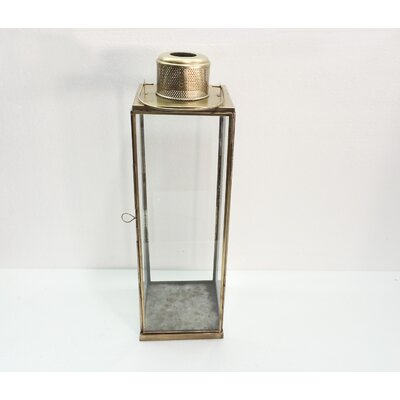 Tall Vent Iron and Glass Lantern Size: 19 H x 6 W x 6 D