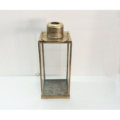 Tall Vent Iron and Glass Lantern Size: 15 H x 6 W x 6 D
