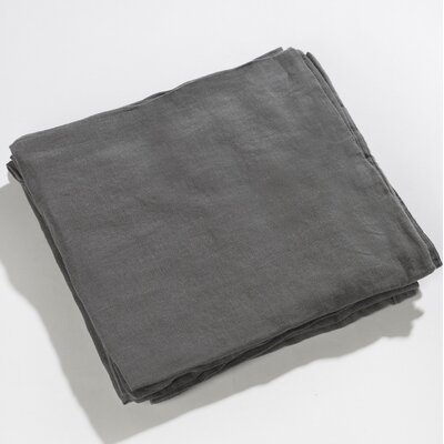Carmon Aubergine 100% Real Linen Pillow Case Color: Dolphin Gray