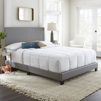 Haskin Padded Upholstered Bed Frame Color: Gray, Size: King