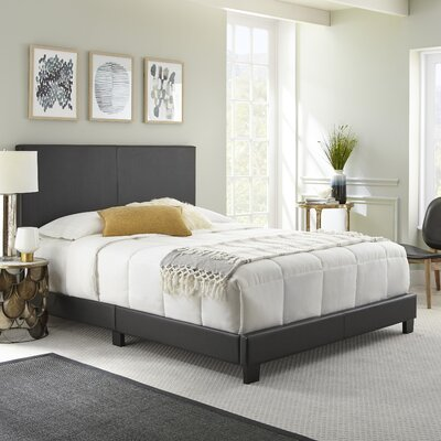 Haskin Padded Upholstered Bed Frame Color: Black, Size: Full/Double