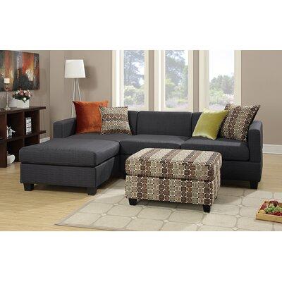 Bobkona Dayton Reversible Sectional with Ottoman Upholstery: Slate Black