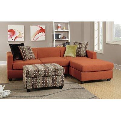 Bobkona Dayton Reversible Chaise Sectional Upholstery: Canyon