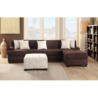 Poundex Y797981 / Y798385 Bobkona Hudson Reversible Chaise Sectional