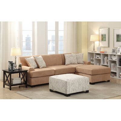 Bobkona Samuel Reversible Sectional Upholstery: Tan