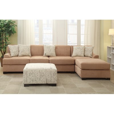 Poundex Y798385 Bobkona Hudson Reversible Chaise Sectional Upholstery