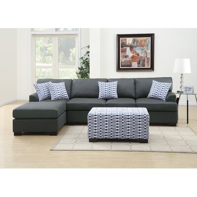 Poundex Y799092 Bobkona Cayden Reversible Chaise Sectional Upholstery