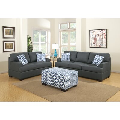 Bobkona Montega Sofa and Loveseat Set Upholstery: Slate Black