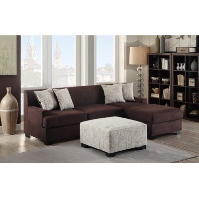 Bobkona Samuel Reversible Sectional Upholstery: Chocolate