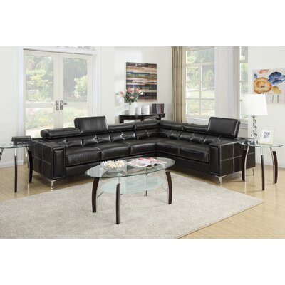 Bobkona Claxton Sectional Upholstery: Black