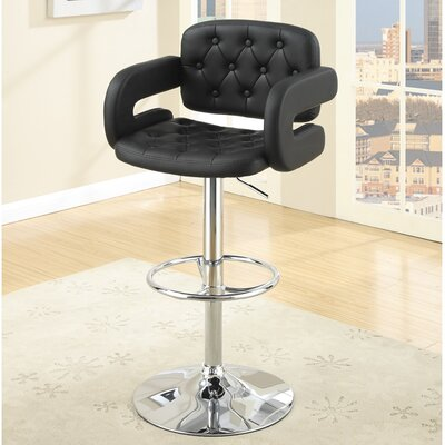 Cherrywood Adjustable Height Bar Stool Upholstery: Black