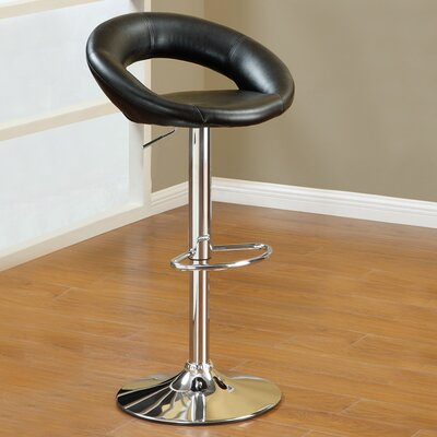 Adjustable Height Swivel Bar Stool Upholstery: Black Y1553