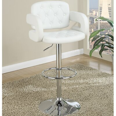 Cherrywood Adjustable Height Bar Stool Upholstery: White
