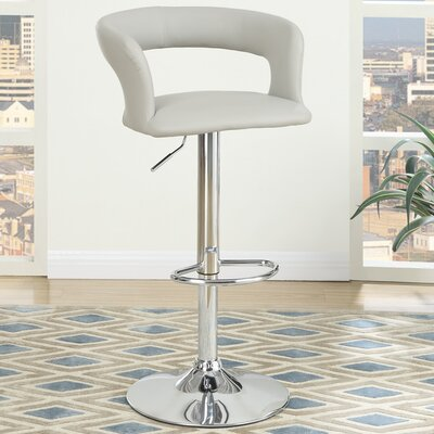 Adjustable Height Bar Stool Upholstery: Light Grey