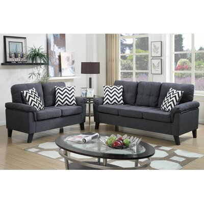 Carli 2 Piece Sofa and Loveseat Set Upholstery: Blue / Grey