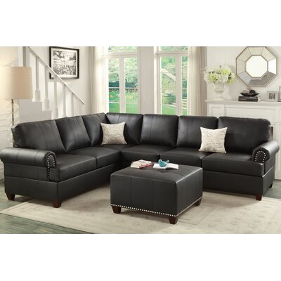 Bobkona Cady Reversible Sectional Upholstery: Black