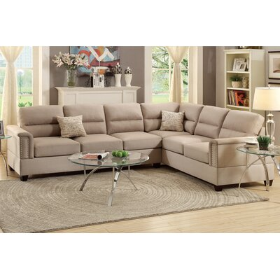 Bobkona Parrish Reversible Sectional Upholstery: Sand