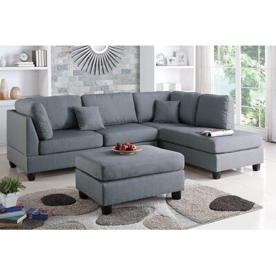 Bobkona Dervon Reversible Sectional Upholstery: Gray