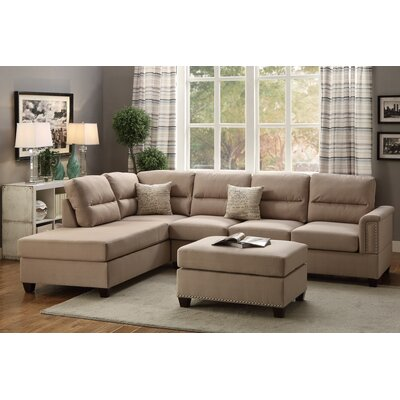 Poundex F7614 Bobkona Toffy Reversible Chaise Sectional Upholstery