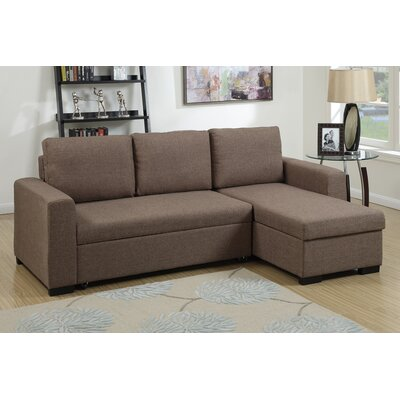 Bobkona Jassi Sleeper Sectional Upholstery: Light Coffee