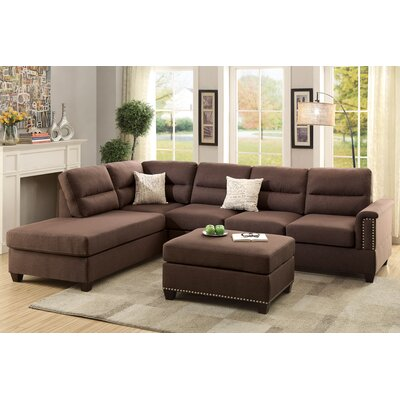 Bobkona Toffy Reversible Sectional Upholstery: Chocolate