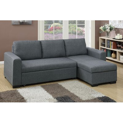 Bobkona Jassi Sleeper Sectional Upholstery: Blue / Grey
