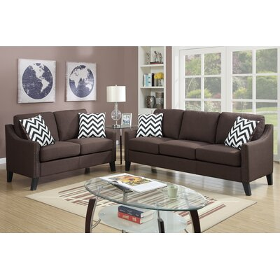 Bobkona Debora 2 Piece Sofa and Loveseat Set Upholstery: Chocolate