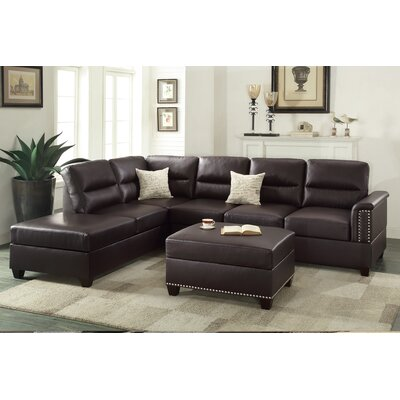 Bobkona Toffy Reversible Sectional with Ottoman Upholstery: Espresso