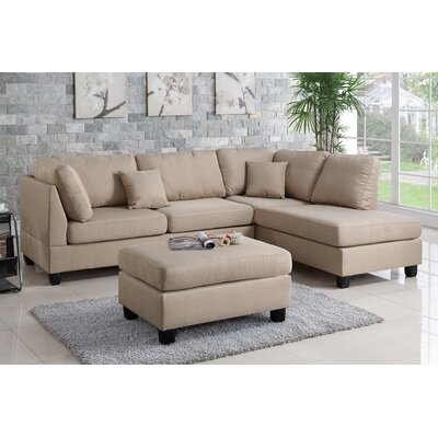 Hemphill Reversible Sectional with Ottoman Upholstery: Sand