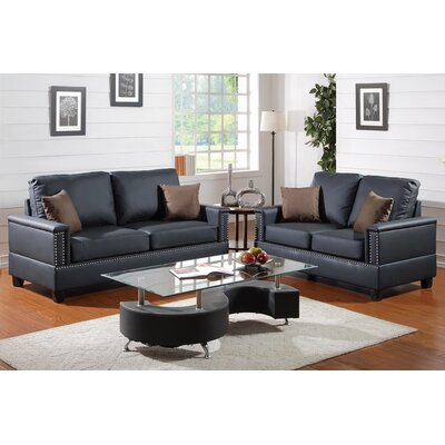 Poundex F7873 Bobkona Norris 2 Piece Sofa and Loveseat Set Upholstery