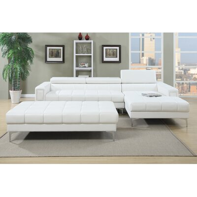 Bobkona Hayden Sectional Upholstery: Bright White