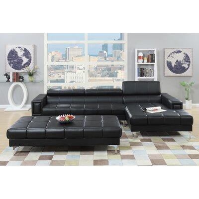 Bobkona Hayden Modular Sectional Upholstery: Black
