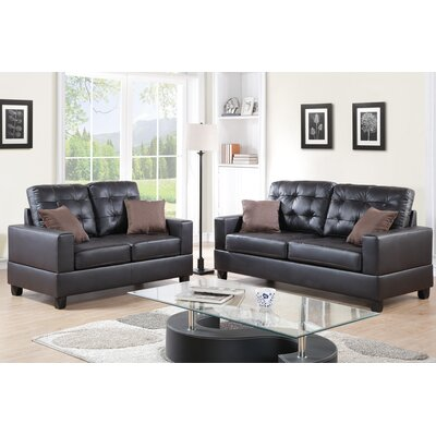 Poundex F7857 Bobkona Aria 2 Piece Sofa and Loveseat Set Upholstery
