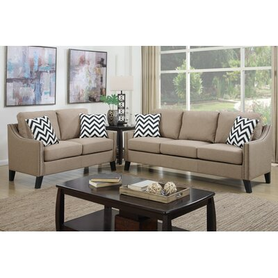 Bobkona Debora 2 Piece Sofa and Loveseat Set Upholstery: Sand