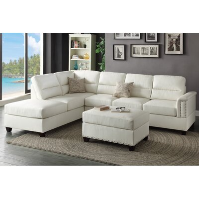 Bobkona Toffy Reversible Chaise Sectional Upholstery: White