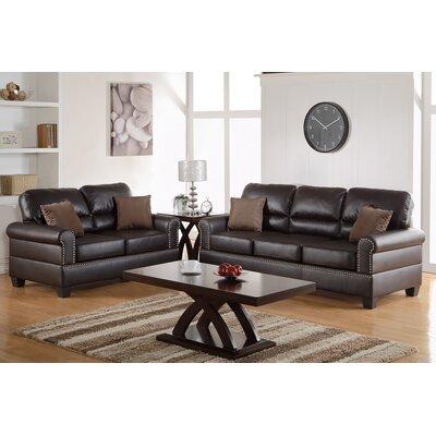 Poundex F7878 Bobkona Shelton 2 Piece Sofa and Loveseat Set Upholstery