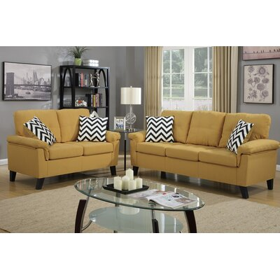 Carli 2 Piece Sofa and Loveseat Set Upholstery: Citrus