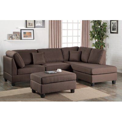 Bobkona Dervon Reversible Chaise Sectional Upholstery: Chocolate