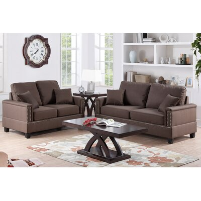 Poundex F7876 Bobkona Norris 2 Piece Sofa and Loveseat Set Upholstery
