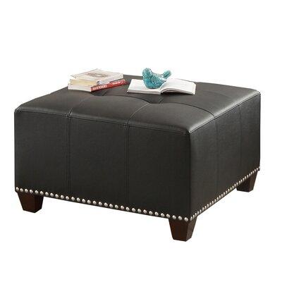 Bobkona Cady Leather Ottoman Upholstery: Black