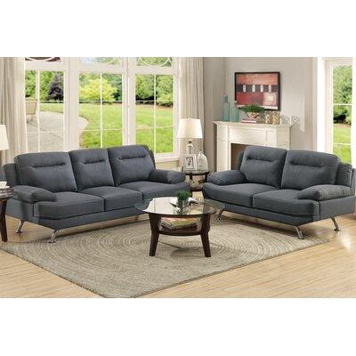 Bobkona Danville 2 Piece Sofa and Loveseat Set Upholstery: Blue / Gray