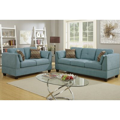 Bobkona Zenda 2 Piece Living Room Set Upholstery: Hydra Blue